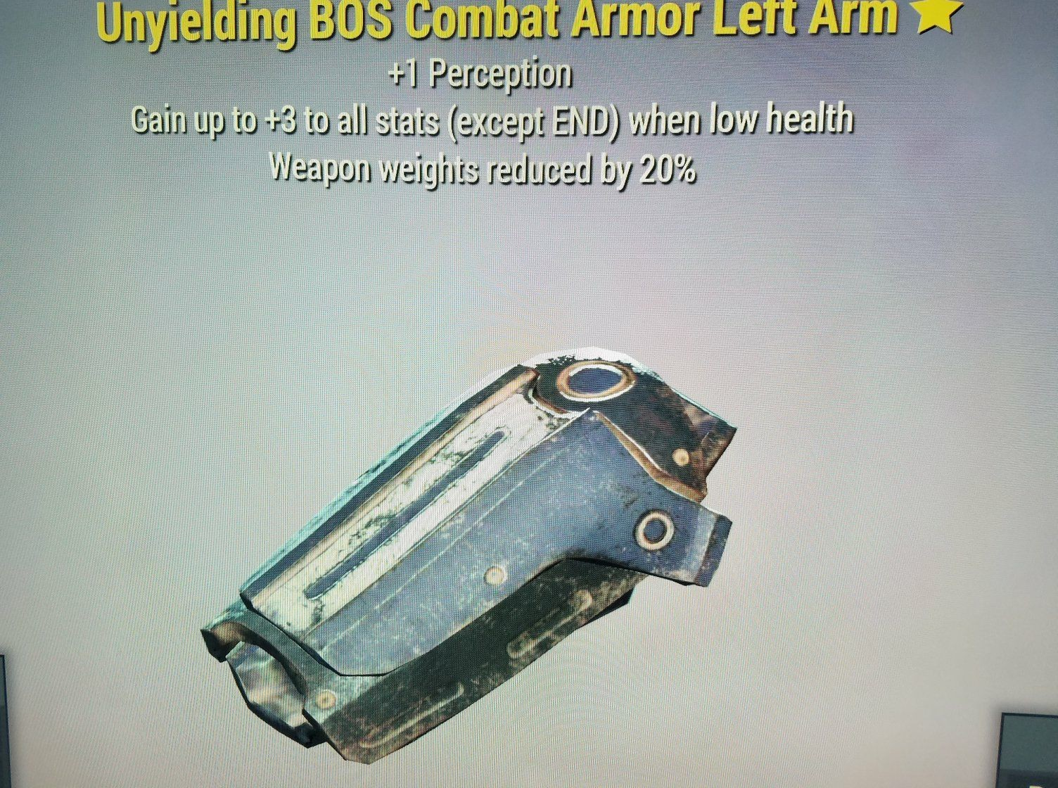 WW Reduction Unyielding BOS Combat Armor Left Arm