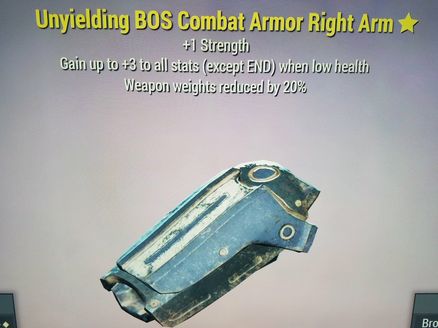 WW Reduction Unyielding BOS Combat Armor Right Arm